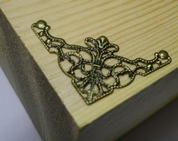 8 x Antique filigree corner 35x35mm Jewelery wooden box embellishment aged C037